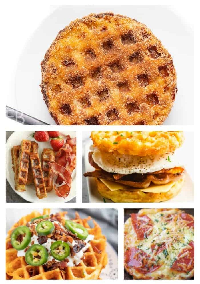 a collage of various chaffles