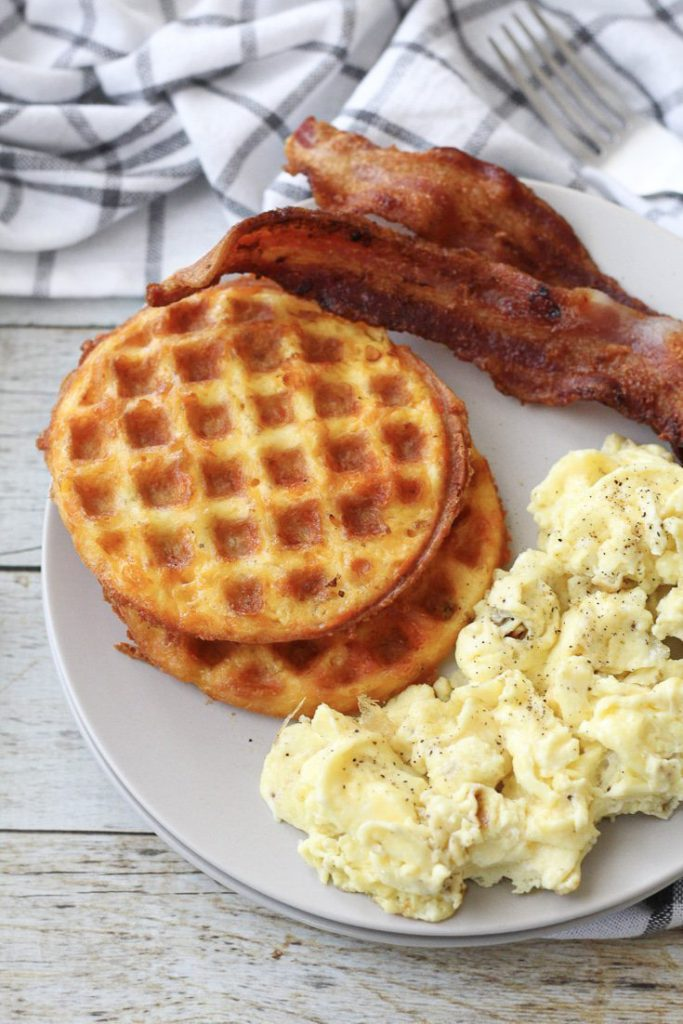 chaffles with eggs and bacon