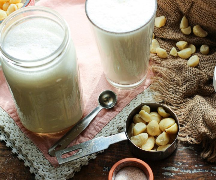 jar and glass of macadamia nut milk
