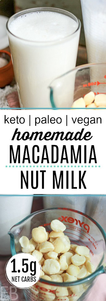 glass of macadamia nut milk and measuring cup of nuts