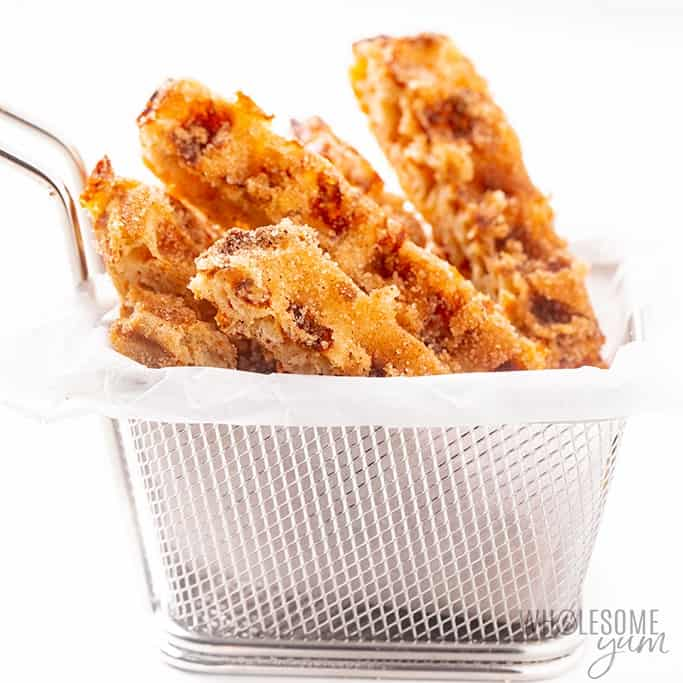 churro style chaffles in a basket