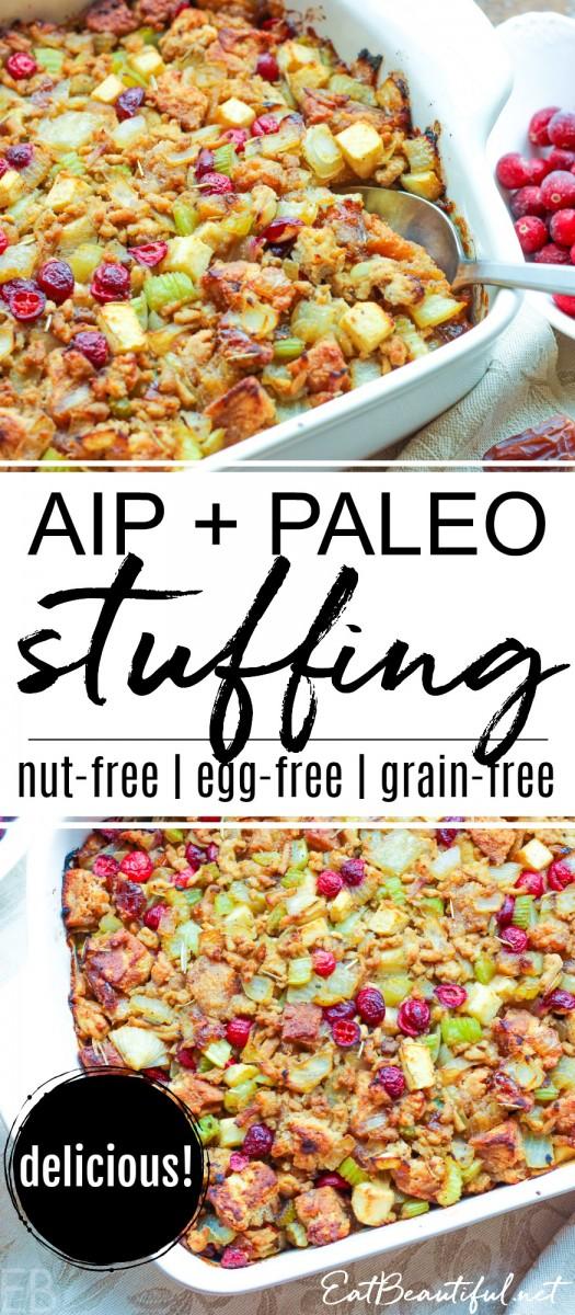 casserole dish of aip paleo stuffing