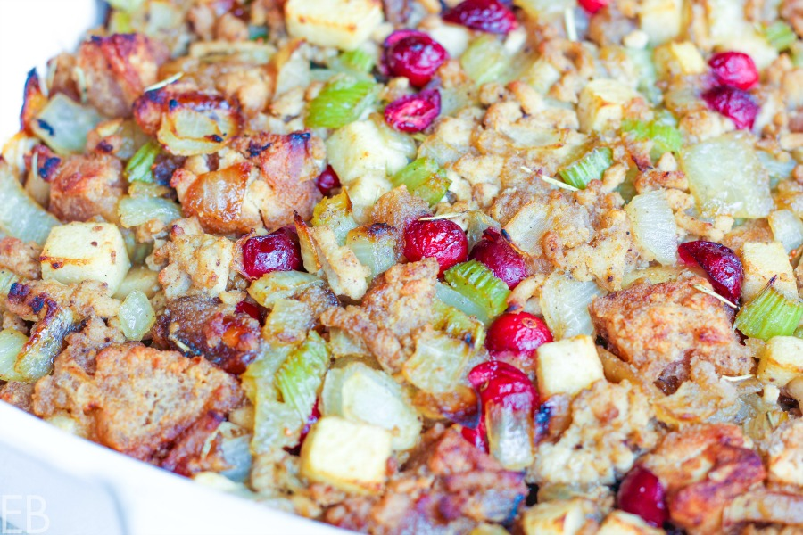 close-up view of aip paleo stuffing