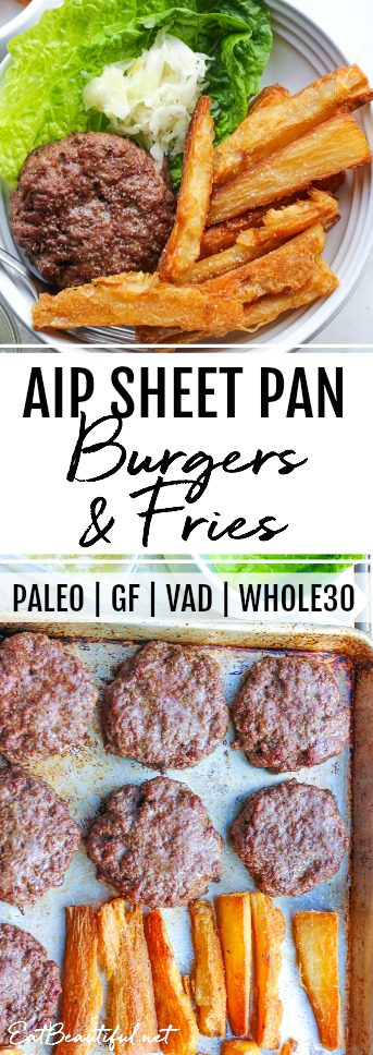 overhead view of pan with aip burgers and fries with banner in the middle