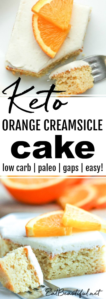 two slices of keto orange creamsicle cake with fork on white plate