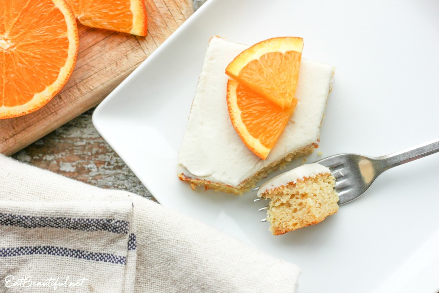 aerial view of keto orange creamsicle cake