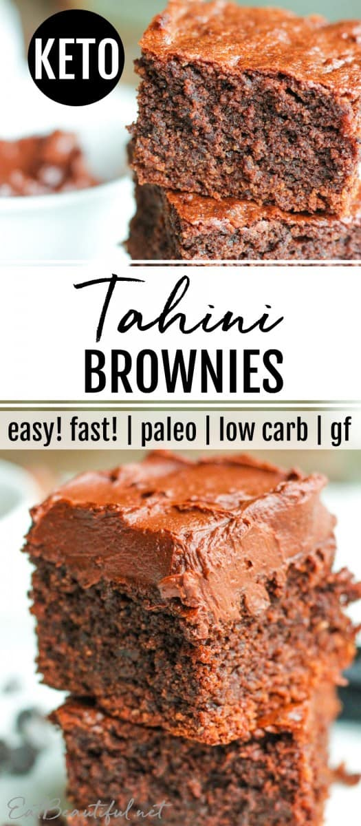 stacked keto tahini brownies with name on banner