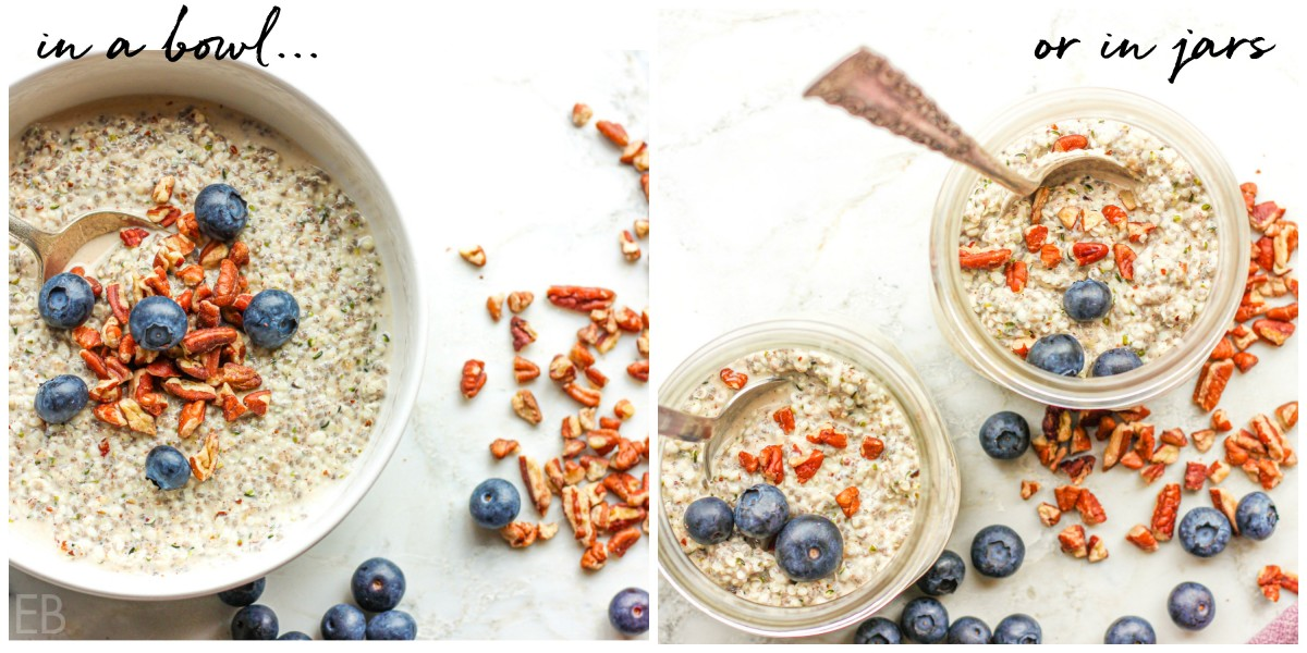 hemp oatmeal in a bowl and then pictured in two jars