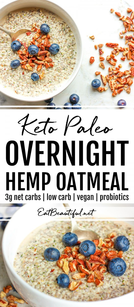 two photos of keto paleo hemp oatmeal