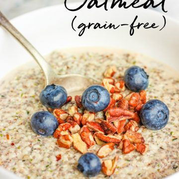 close-up view of overnight hemp oatmeal with pecans and blueberries
