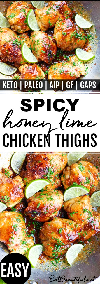 pin image of spicy lime chicken thighs in pan