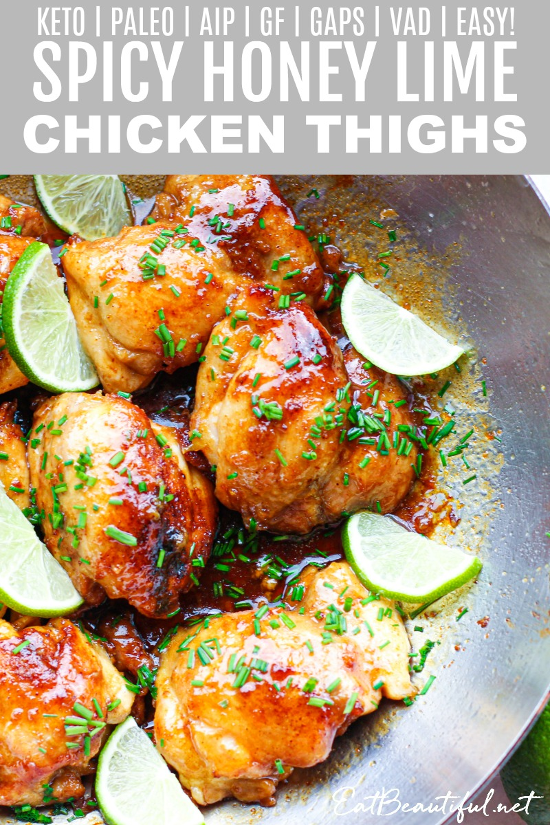 short pin of spicy honey lime chicken thighs with banner