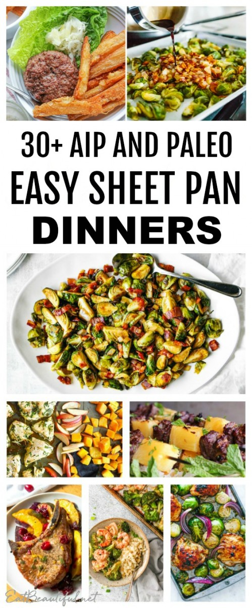 collage of aip and paleo sheet pan dinners with banner