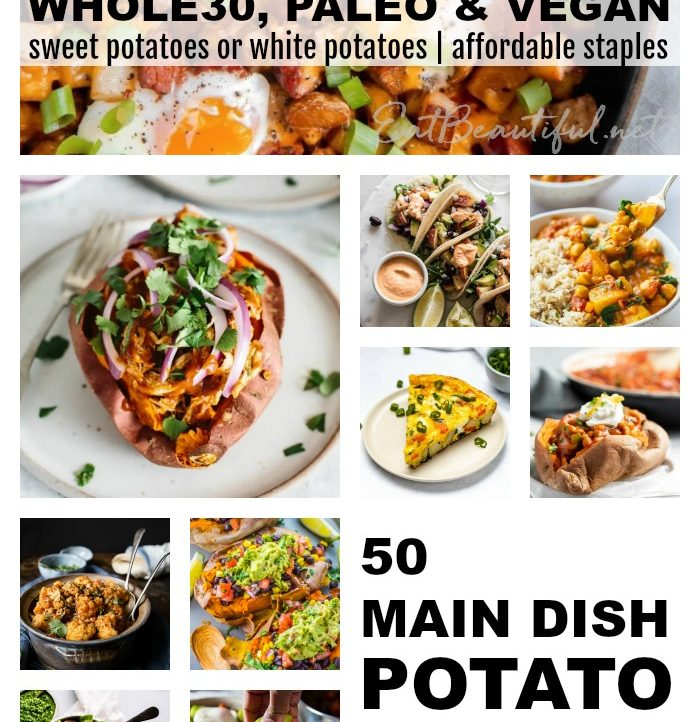 collage of 50 whole30 potato recipes with writing