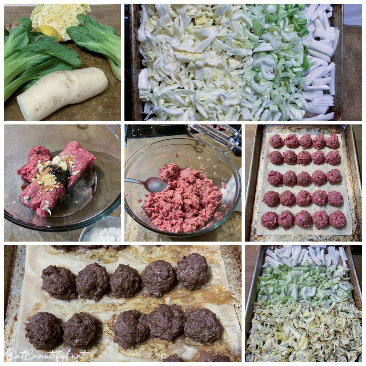 process photo collage of asian sheet pan dinner