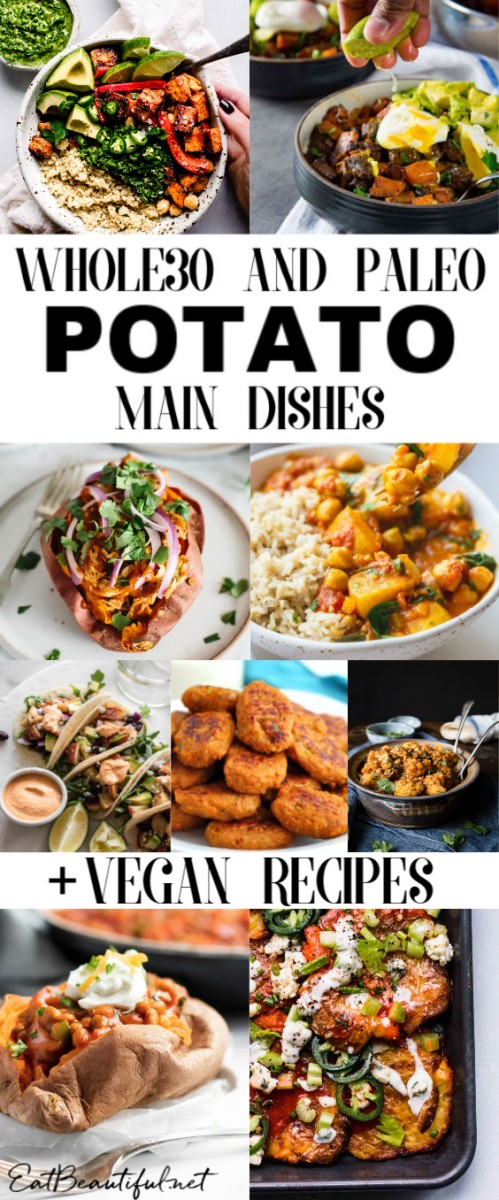collage pin of 50 whole30 and paleo potato recipes