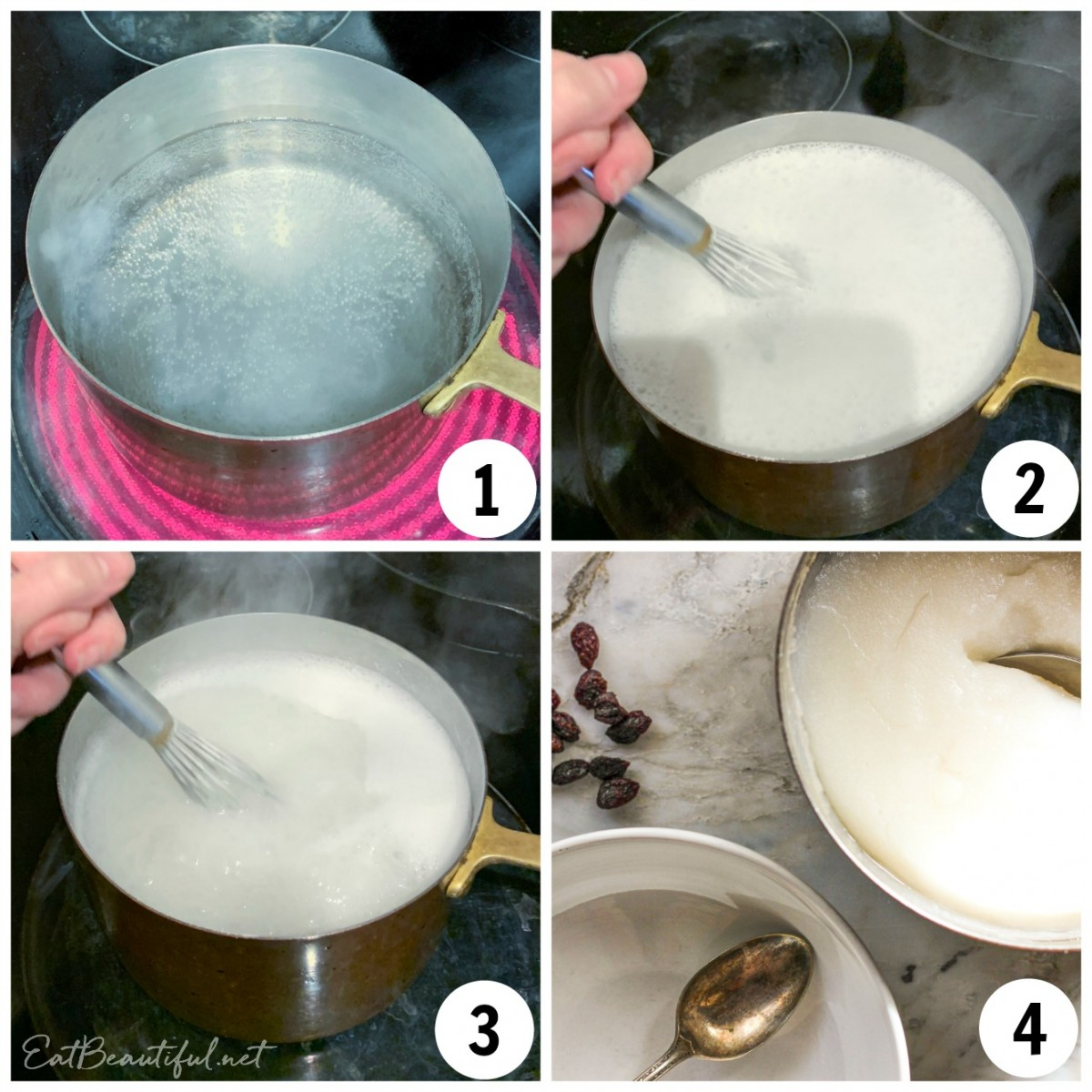 4 process images of making rice flour porridge