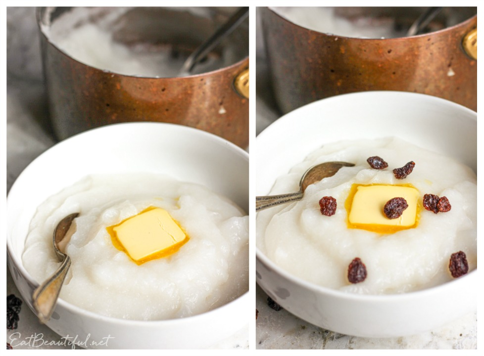 two bowls of rice flour porridge