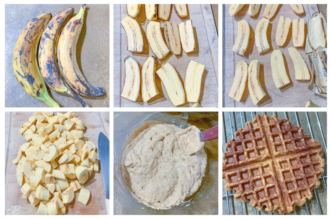 6 photos of how to peel plantains to make waffles