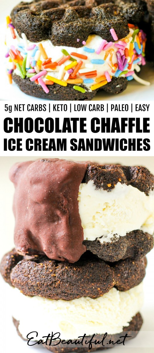 pin with banner and two photos of chaffle ice cream sandwiches