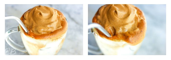 two images side by side of dalgona meringue and straw in clear mug
