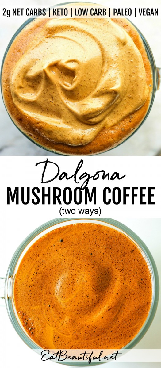 two images with overhead view of dalgona mushroom coffee with banner in the middle