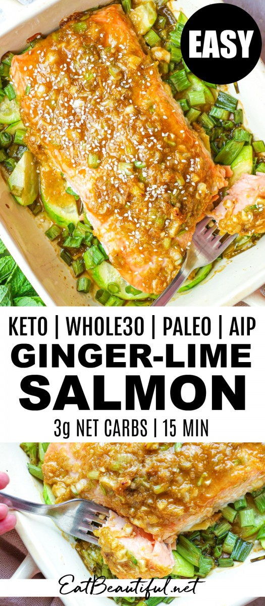 overhead view of ginger-lime salmon in baking dish with pin banner