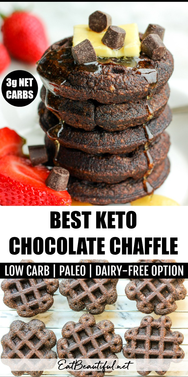 two images of stacked best keto chocolate chaffle and overhead view of cooling chaffles