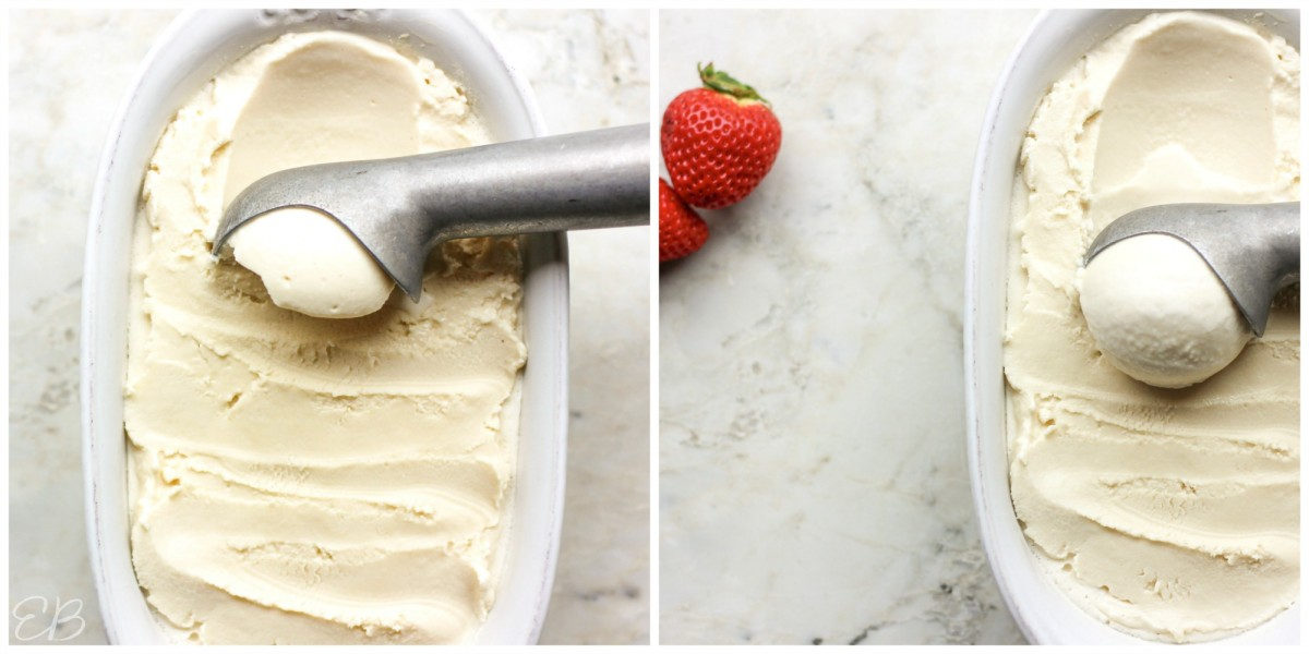 overhead view of two stages of scooping paleo vanilla ice cream