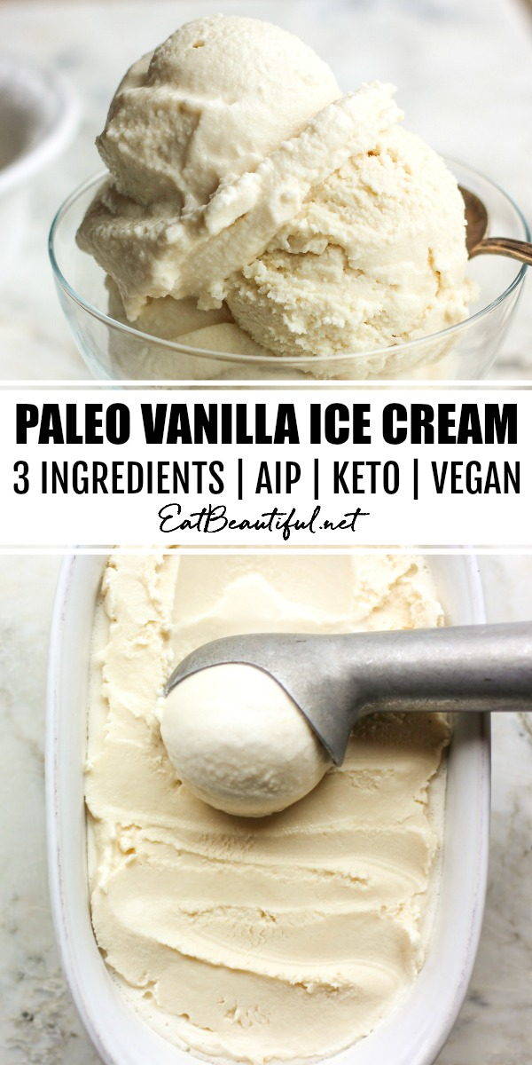 two photos of paleo vanilla ice cream with banner in the middle