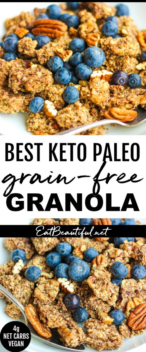 pin with two images and banner of best keto paleo grain-free granola