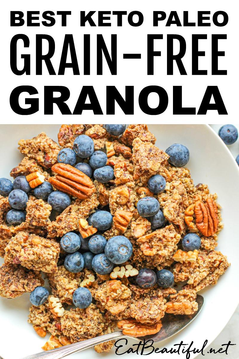 overhead view of keto paleo grain-free granola
