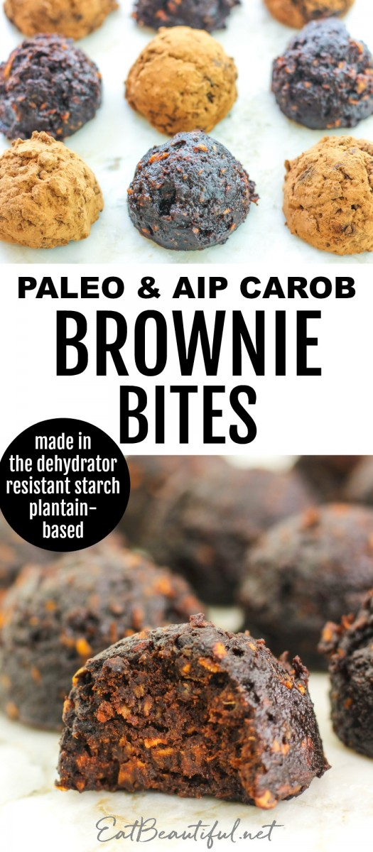 two images of carob brownie bites with banner in the middle