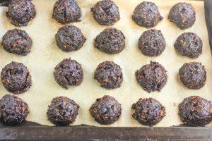 pan of carob brownie bites process photo
