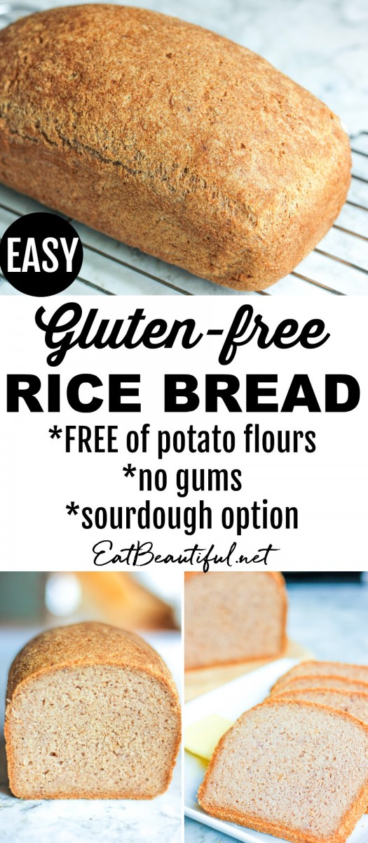 3 images of gluten-free rice bread divided by a banner with words