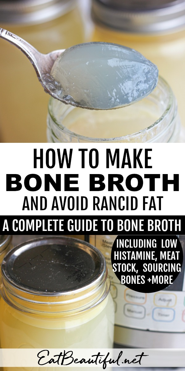 two photos of bone broth and a banner in the middle