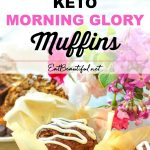 two images of keto muffins with banner