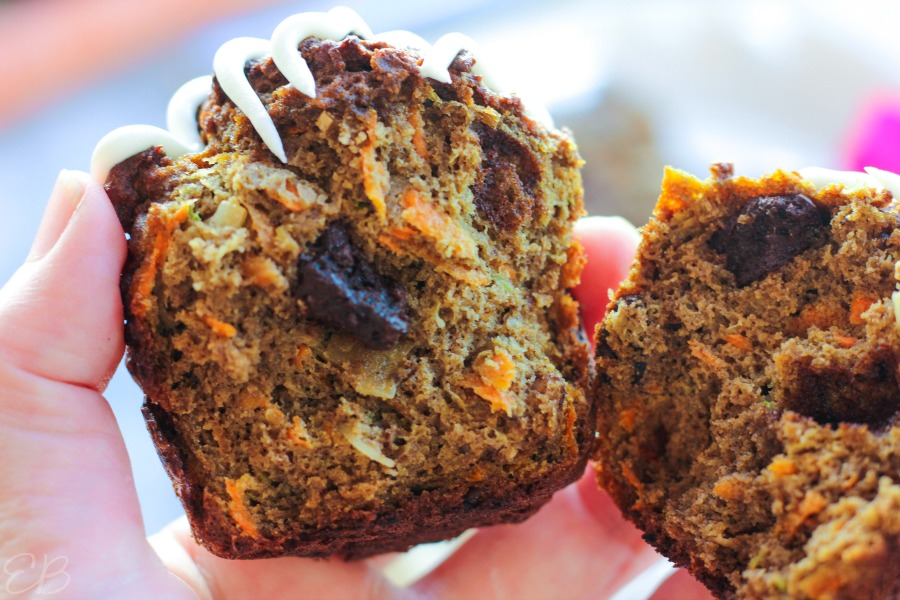 close-up view of keto morning glory muffin broken open