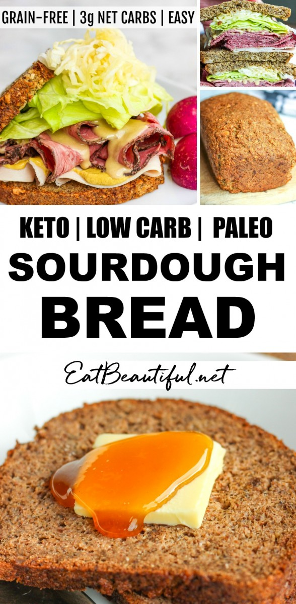 photo collage of keto sourdough bread with banner