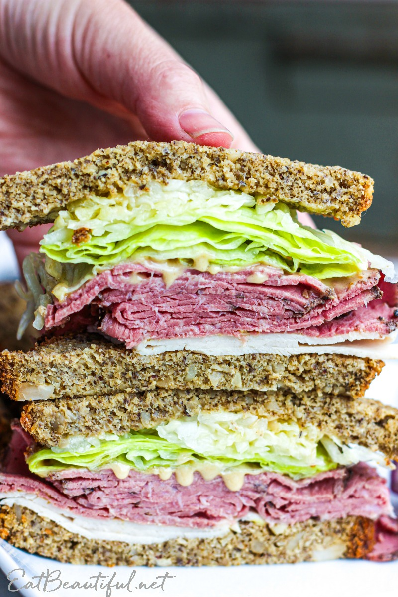 two sandwich halves stacked on each other