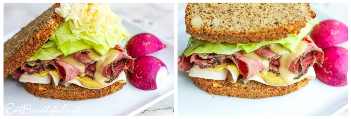 two images of keto sourdough bread sandwiches