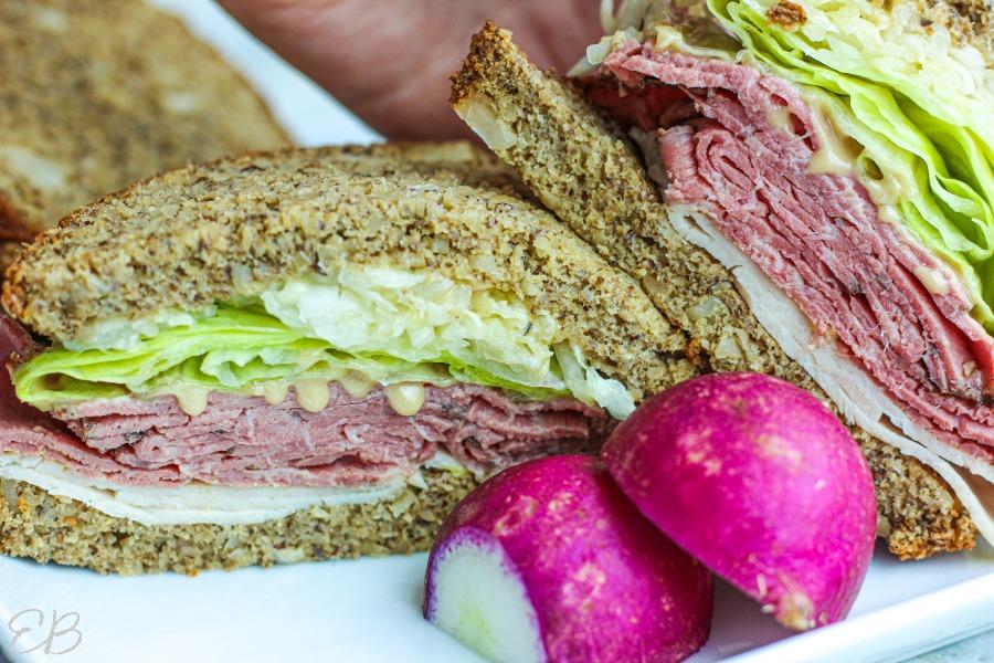 two sandwich halves side by side with keto sourdough