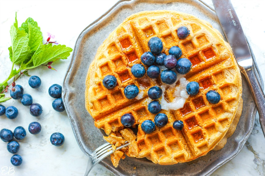 overhead view of paleo aip cassava waffles on plate