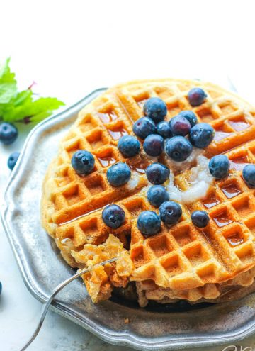 side angle view of paleo aip cassava flour waffles