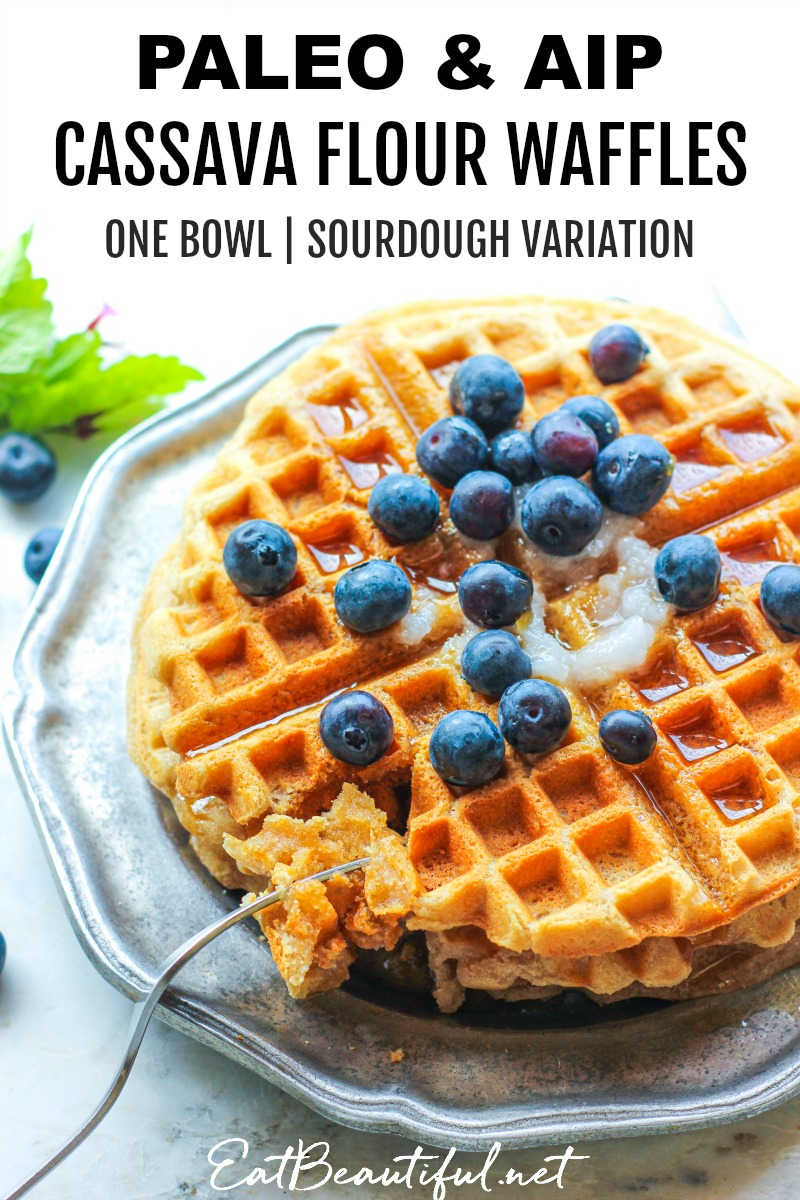 paleo and aip cassava flour waffles with blueberries on top