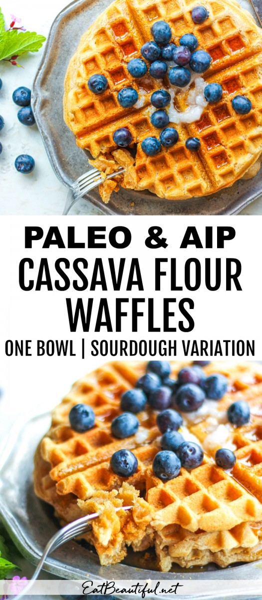 two images of paleo aip cassava waffles with banner and words