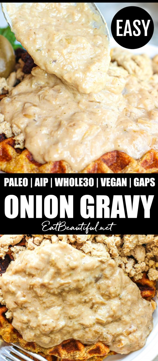 pin with banner in the middle and two images of paleo aip onion gravy top and bottom