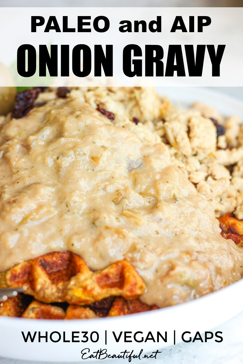 paleo aip onion gravy image on waffle with sausage