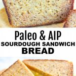 pin with two images of aip bread loaf and banner