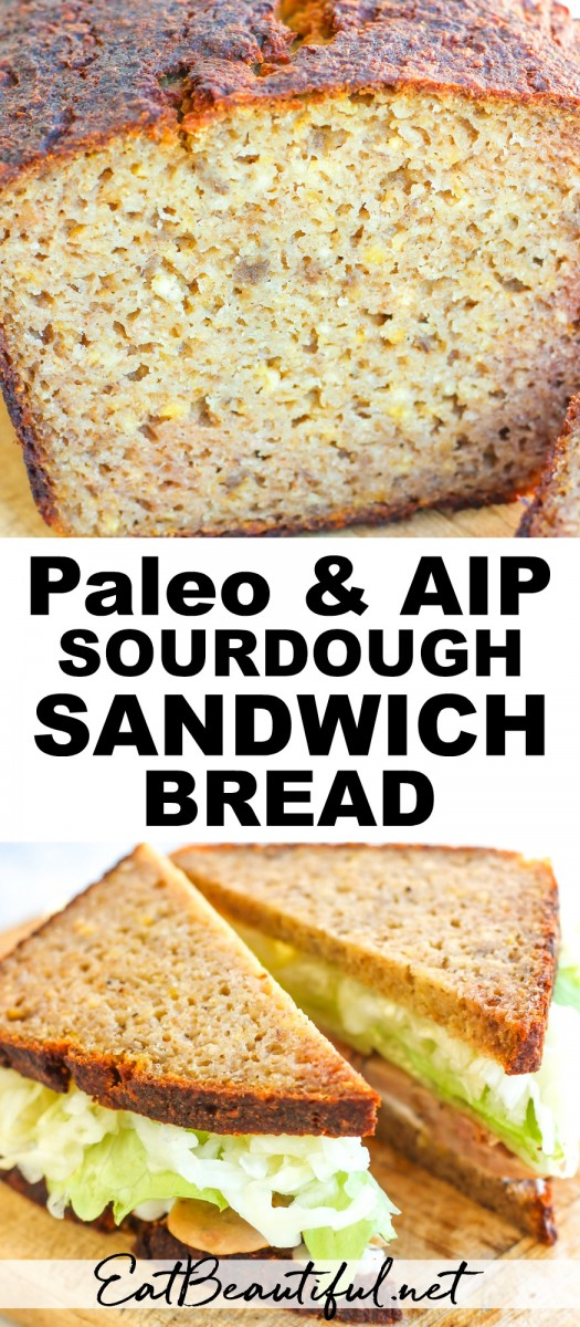 2 images of paleo aip sourdough sandwich bread with banner pin